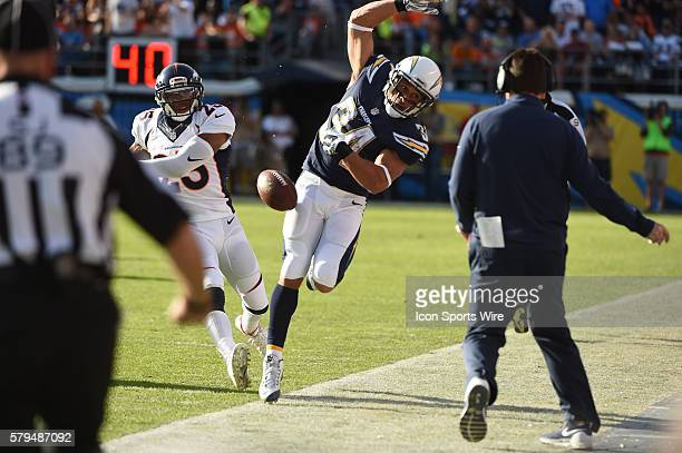 December 6 2015 San Diego Chargers Running Back Donald Brown [10347] is knocked out of bounds by Denver Broncos Cornerback Chris Harris [15952]...