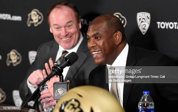 December 6 University of Colorado Athletic Director Rick George left and new Colorado football coach Mel Tucker during the press conference New CU...