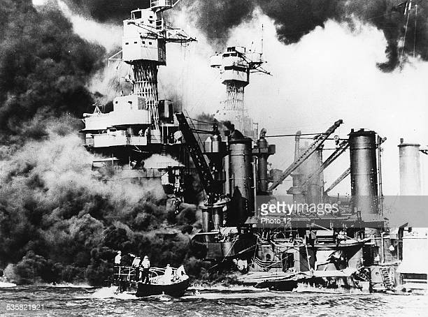 December 7 1941 The United States The American cuirassier ' West Virginia ' in flames in the roads of PearlHarbour during the surprised attack of...