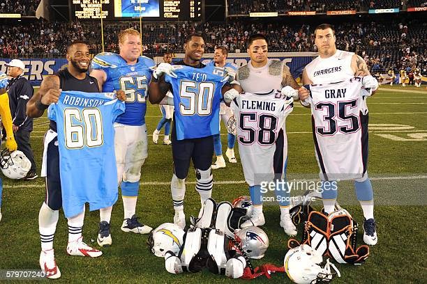 December 7 2014 San Diego California USA San Diego Chargers Center Trevor Robinson San Diego Chargers Linebacker Manti Te'o New England Patriots...