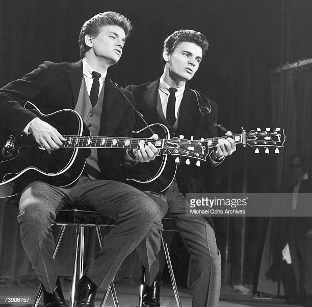December 7 New York New York City NBC studio Everly Brothers performing on The Perry Como ShowLR Phil Everly Don Everly