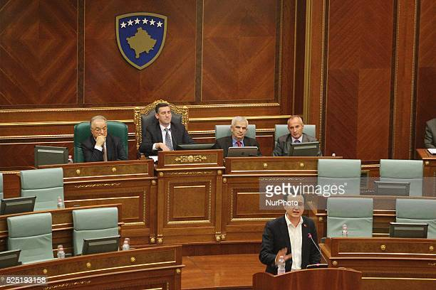 December 8 Pristina Kosovo Albin Kurti the leader of quotVetevendosjequot talking to the deputies present tonight at the Kosovo Assembly Sources tell...