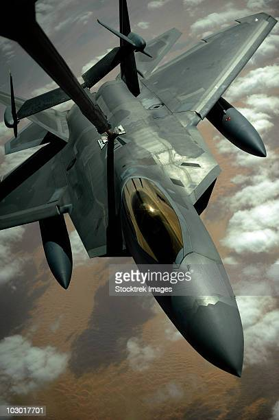 December 9, 2009 - A U.S. Air Force F-22 Raptor is refueled by a KC-10A Extender aircraft over southwest Asia.
