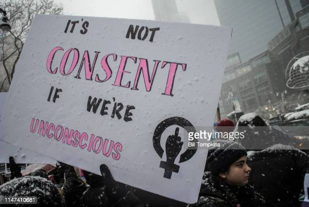 December 9, 2017]: Protest sign that says IT'S NOT CONSENT IF WE'RE UNCONSCIOUS at #METOO rally on December 9, 2017 in New York City.