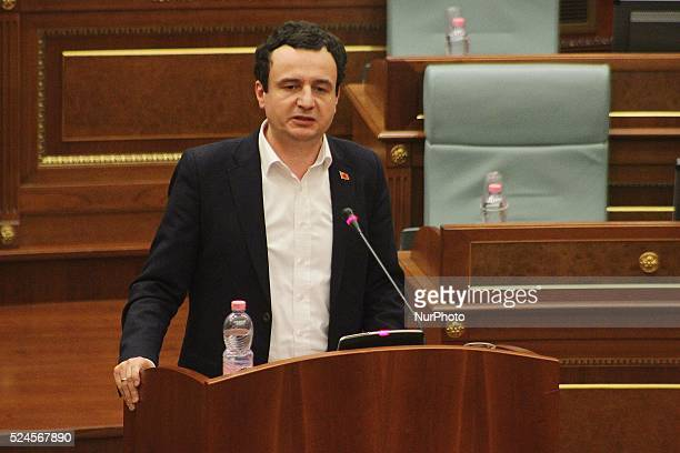 December 9 Pristina Kosovo Albin Kurti the leader of quotVetevendosjequot talking to the deputies present tonight at the Kosovo Assembly Sources tell...