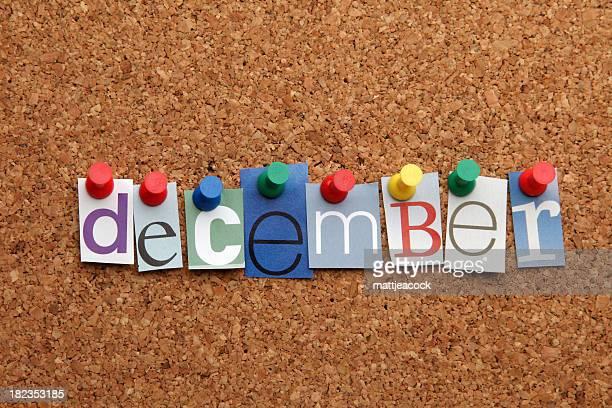 December pinned on noticeboard