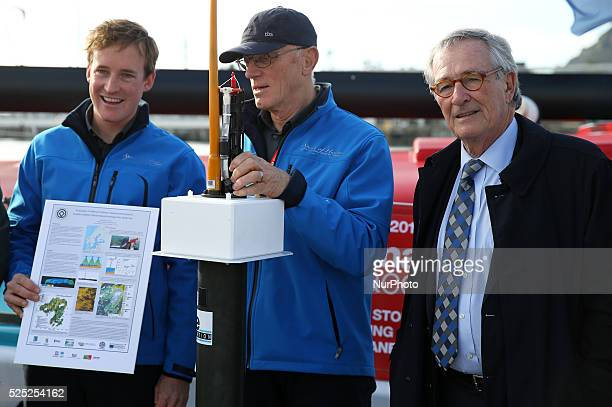 Nador Fa and Conrad Colman with the Major of Barcelona Xavier Trias and Luis Valdes in the welcome the skippers of the Barcelona World Race 2014/2015...