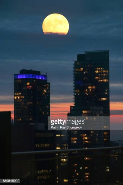 December Super Moon in City