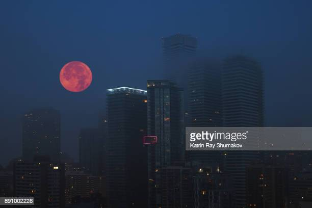 December Super Moon in Misty Blue City