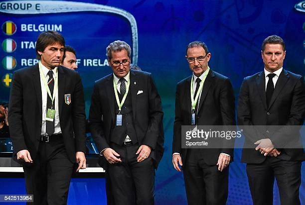 12 December2015 Republic of Ireland manager Martin O'Neill centre left with fellow Group E managers from left Antonio Conte Italy Erik Hamren Sweden...