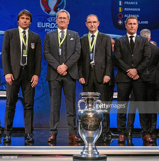12 December2015 Republic of Ireland manager Martin O'Neill centre right with fellow Group E managers from left Antonio Conte Italy Erik Hamren Sweden...