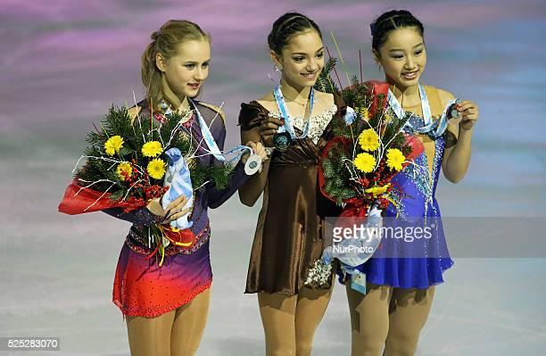 Evgenia Medvededa Serafima Sakhanovich abd Wakaba Higuchi junior ladies winners ISU Grand Prix in Barcelona held at the Forum in Barcelona on12...