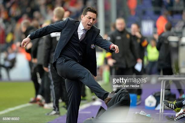 deception of Besnik Hasi head coach of Rsc Anderlecht pictured during the Jupiler league match between Rsc Anderlecht and Kv Mechelen on February 15...