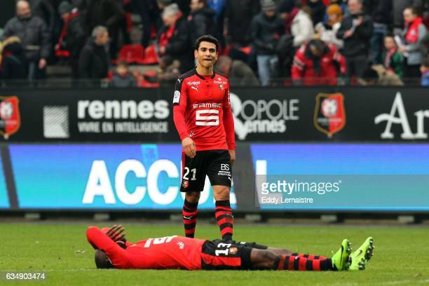 Deception of Giovanni Sio and Benjamin Andre of Rennes at the end of the match during the Ligue 1 match between Stade Rennais and OGC Nice at Roazhon...