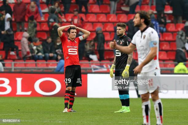 Deception of Romain Danze of Rennes at the end of the match during the Ligue 1 match between Stade Rennais and OGC Nice at Roazhon Park on February...