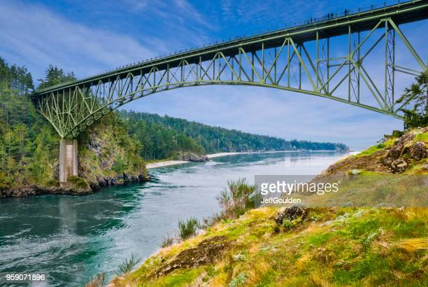 deception pass bridge - washington state stock pictures, royalty-free photos & images