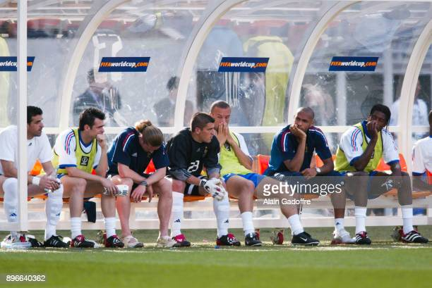 Deception Ulrich Rame Willy Sagnol Emmanuel Petit Gregory Coupet Mikael Silvestre Thierry Henry and Philippe Christanval of France look dejected...