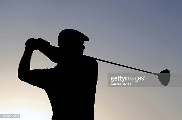 TOPSHOT DeChambeau of the United States plays a shot during the second round of the Abu Dhabi Golf Championship in the capital of the United Arab...