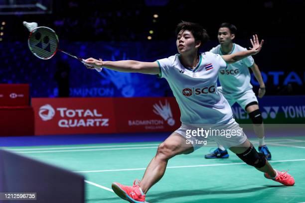 Dechapol Puavaranukroh and Sapsiree Taerattanachai of Thailand compete in the Mixed Double final match against Melati Daeva Oktavianti and Praveen...
