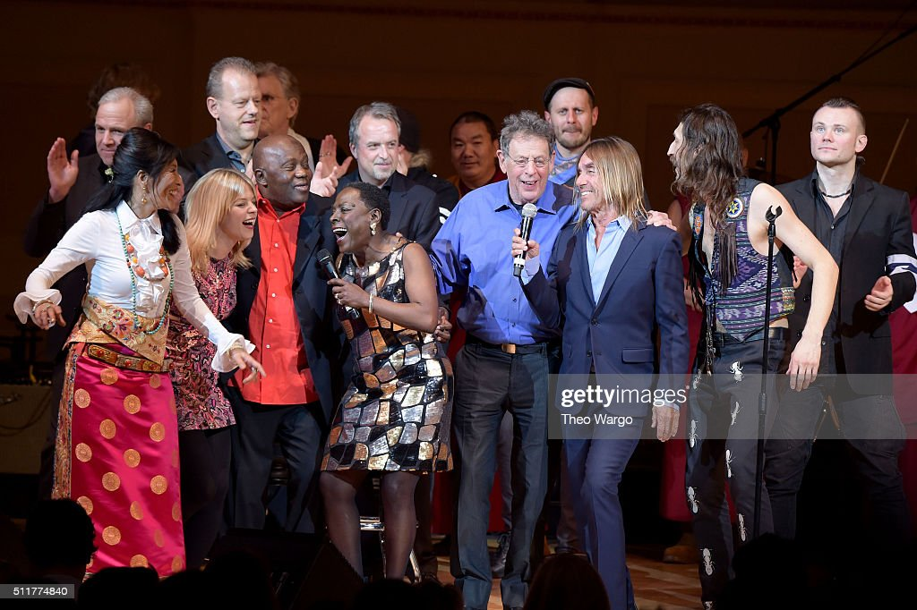 Dechen Shak-Dagsay, Basia Bulat, Foday Musa Suso, Sharon Jones, Philip Glass, Iggy Pop, Eugene Hutz and Pasha Newmer perform onstage at the 26th Annual Tibet House U.S. benefit concert at Carnegie Hall on February 22, 2016 in New York City.