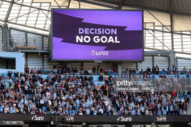 VAR decides Manchester City's Gabriel Jesus' sides third goal of the game is disallowed Manchester City v Tottenham Hotspur Premier League Etihad...