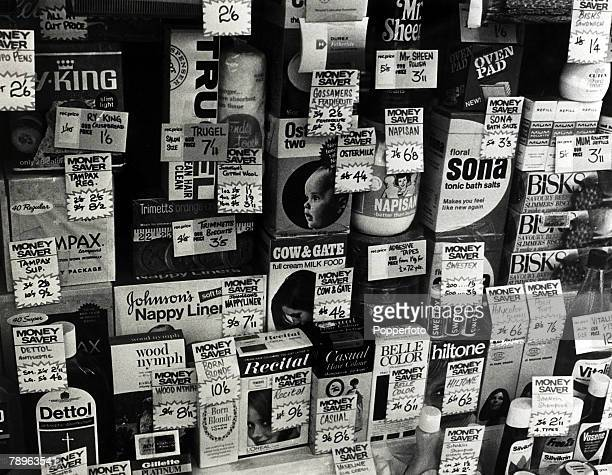 23rd November 1970 Goods in a London shop window priced in pounds shillings and pence 3 months prior to decimalisation