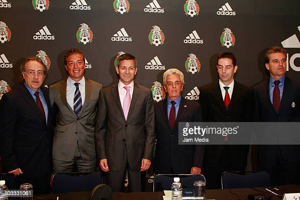 Decio de Maria, Fernando Basualdo, Herbert Hainer, Justino Compean, Karl-Heinz Maurath and Nestor de la Torre during a press conference to announce...