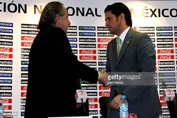 Decio de Maria General Secretary of FEMEXFUT and Alejandro Irarragorri President of Santos Laguna during the press conference to announce the...