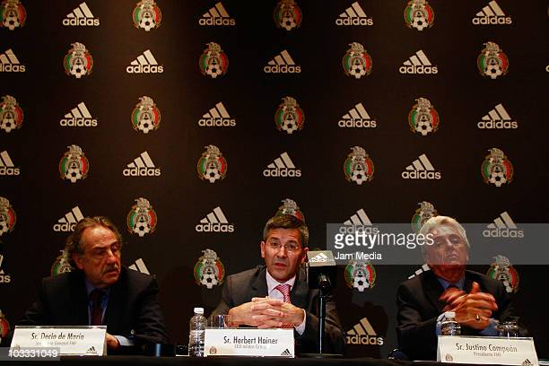 Decio de Maria, Herbert Hainer and Justino Compean during a press conference to announce the continuity of the contract between Mexican Soccer...