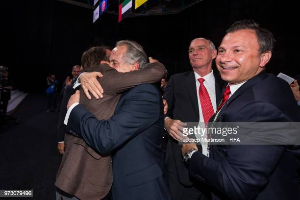 Decio De Maria is being congratulated after winning the FIFA World Cup 2026 bid during the 68th FIFA Congress at Expotsentr on June 13 2018 in Moscow...