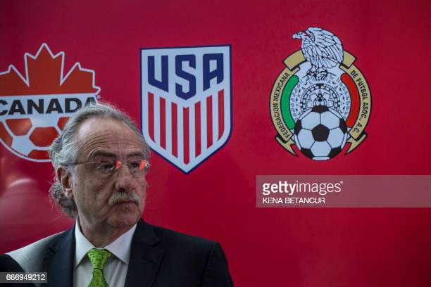 Decio de Maria President of the Mexican Football Federatio attends a press conference announcing the next soccer 2026 World Cup in North America on...