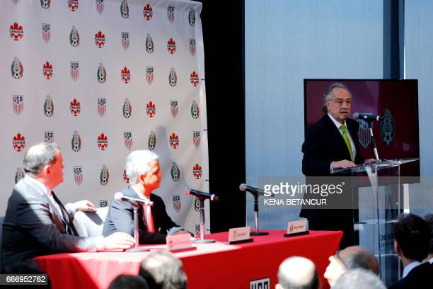 Decio de Maria President of the Mexican Football Federatio speaks during a press conference announcing the next soccer 2026 World Cup in North...