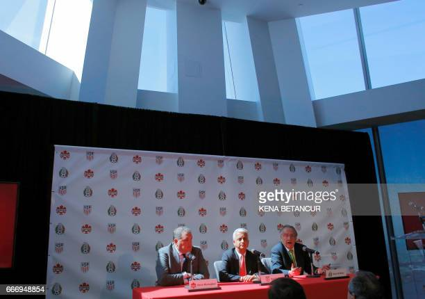 Decio de Maria President of the Mexican Football Federatio speaks next to Sunil Gulati President of United States Soccer Federation and Victor...