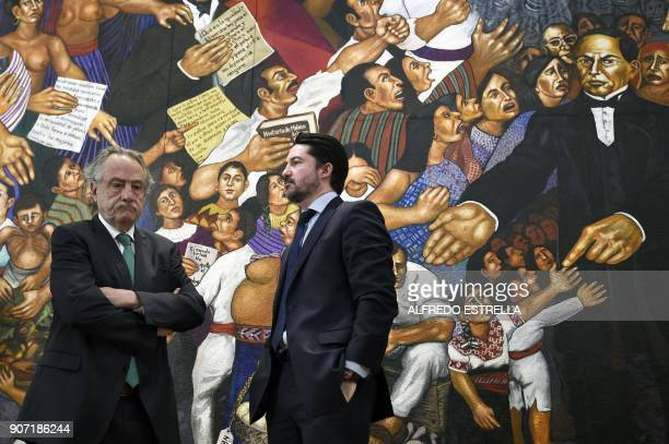 Decio de Maria president of the Mexican Football Federation and Yon de Luisa director of the joint bid for the next soccer 2026 World Cup in North...