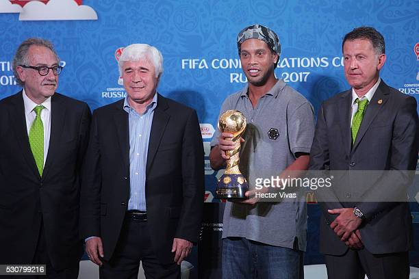 Decio de Maria President of the Mexican Football Federation Evgeny Lovchev Former Russian soccer player Ronaldinho and Juan Carlos Osorio coach of...