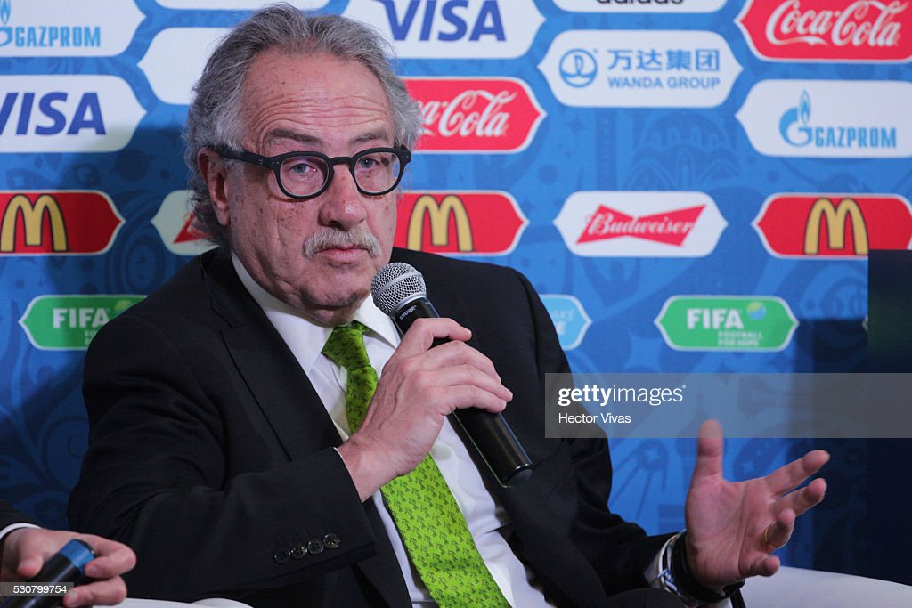 Decio de Maria, President of the Mexican Football Federation speaks during the FIFA Confederations Media Event at CAR on May 11, 2016 in Mexico City, Mexico.