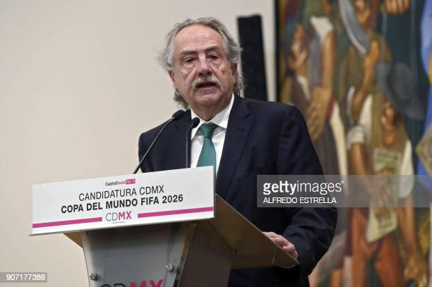 Decio de Maria president of the Mexican Football Federation speaks during the presentation of the joint bid for the next soccer 2026 World Cup in...