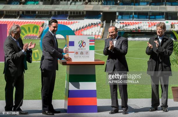Decio de Maria president of the Mexican Football Federation Yon de Luisa director of the joint bid for the next soccer 2026 World Cup in North...
