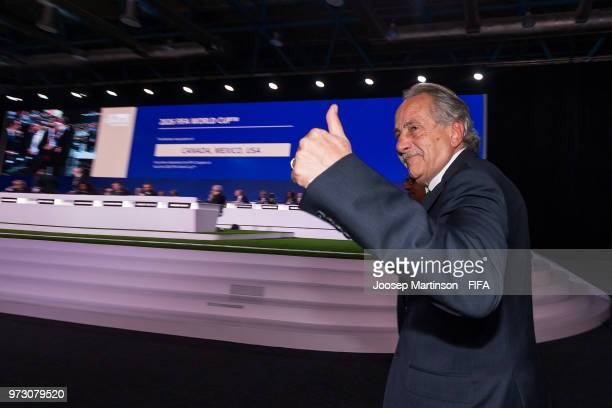 Decio De Maria reacts after winning the FIFA World Cup 2026 bid during the 68th FIFA Congress at Expotsentr on June 13 2018 in Moscow Russia