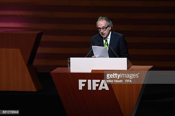 Decio de Maria the Preident of the Mexican Football Federation addresses the delegates during the 66th FIFA Congress at Centro Banamex on May 13 2016...