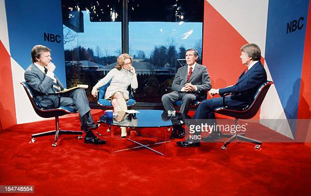 SPECIAL Decision '76 New Hampshire Primary Pictured NBC News' Jim Hartz Barbara Walters presidential candidates Congressman Mo Udall Governor Jimmy...
