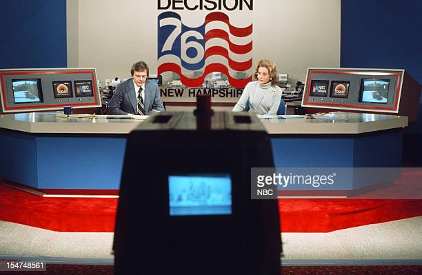 SPECIAL Decision '76 New Hampshire Primary Pictured NBC News' Jim Hartz Barbara Walters during the 1976 New Hampshire Democractic Primary on February...