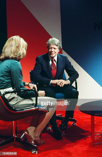 SPECIAL Decision '76 New Hampshire Primary Pictured NBC News' Judy Woodruff presidential candidate Governor Jimmy Carter during the 1976 New...