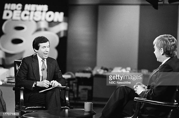 PRESS Decision '88 New Hampshire Primary Pictured Moderator NBC News' Chris Wallace Republican presidential candidate Congressman Jack Kemp on...