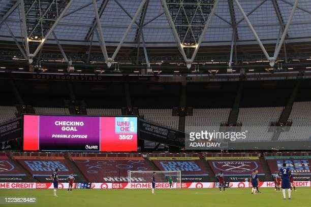 Decision disallows West Ham United's Czech midfielder Tomas Soucek's goal during the English Premier League football match between West Ham United...