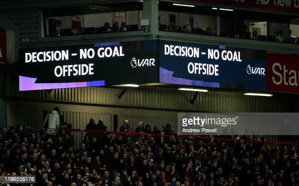 Decision offside no goal during the Premier League match between Liverpool FC and Wolverhampton Wanderers at Anfield on December 29, 2019 in...
