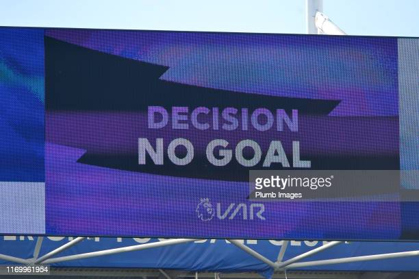 VAR decision rules Wilfred Ndidi of Leicester City's goal as offside during the Premier League match between Leicester City and Tottenham Hotspur at...