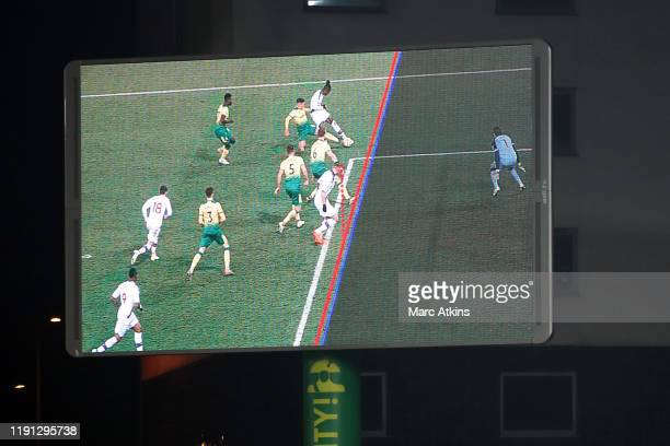 Decision show on the big screen indicates Connor Wickham of Crystal Palace is onside before the equalising goal is scored during the Premier League...