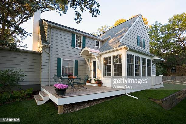 deck and addition on house - minnesota stock pictures, royalty-free photos & images