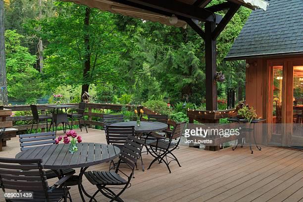 Deck and Tables overlooking garden